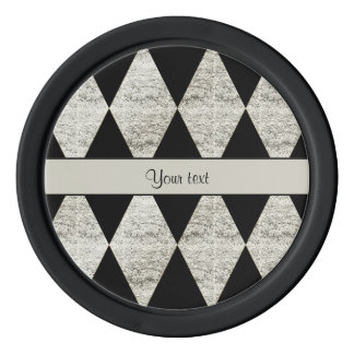 Stylish Black & Silver Glitter Diamonds Poker Chips