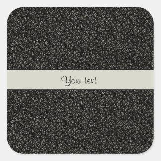 Stylish Black & Silver Glitter Mini Stars Square Sticker