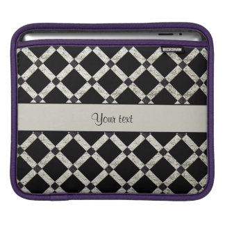 Stylish Black & Silver Glitter Squares iPad Sleeve