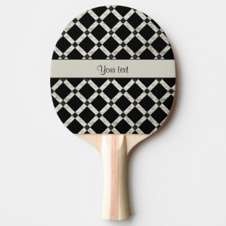 Stylish Black & Silver Glitter Squares Ping Pong Paddle
