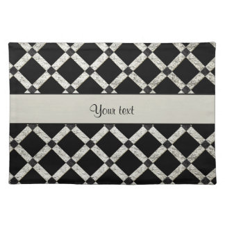 Stylish Black & Silver Glitter Squares Placemat