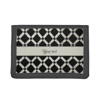 Stylish Black & Silver Glitter Squares Trifold Wallet