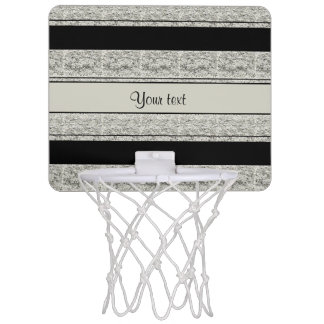 Stylish Black & Silver Glitter Stripes Mini Basketball Hoop