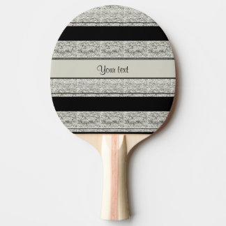 Stylish Black & Silver Glitter Stripes Ping Pong Paddle