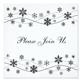 Stylish Black Snowflakes Invitation Template