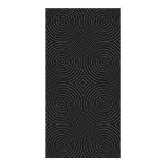 Stylish black spirals design customized photo card