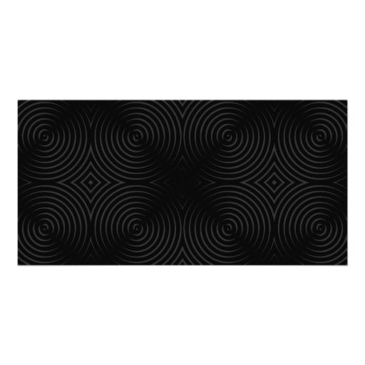 Stylish, black spirals design. personalized photo card