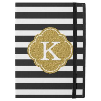 """Stylish Black Stripes Gold Monogram iPad Pro 12.9"""" Case"""
