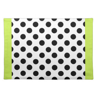Stylish Black, White, & Chartreuse Polka Dot Placemat