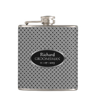 Stylish Black White Custom Design Groomsmen Gift Hip Flask