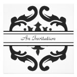 Stylish Black & White Damask Custom Invitations