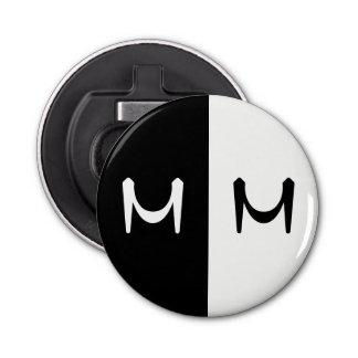 Stylish Black & White Double Initialed Monogram Bottle Opener