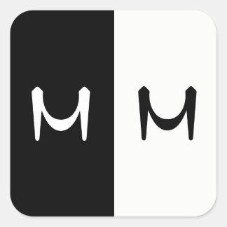 Stylish Black & White Double Initialed Monogram Square Sticker