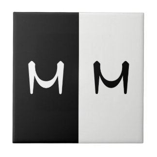 Stylish Black & White Double Initialed Monogram Tile