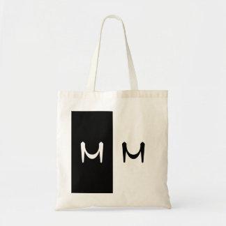 Stylish Black & White Double Initialed Monogram Tote Bag