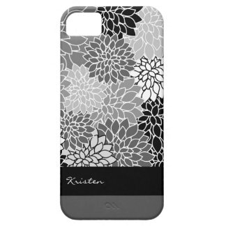 Stylish Black & White Floral Pattern Custom iPhone 5 Cases