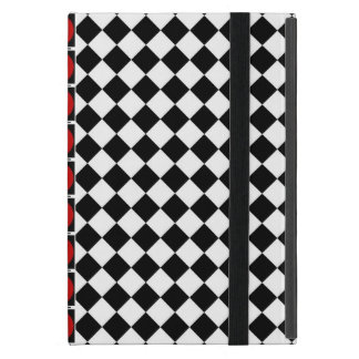 Stylish Black White Half Diamond Checkers red band Case For iPad Mini