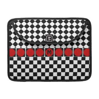 Stylish Black White Half Diamond Checkers red band MacBook Pro Sleeves