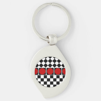 Stylish Black White Half Diamond Checkers red band Silver-Colored Swirl Metal Keychain