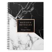 Stylish Black White Marble Texture Designer Notes Spiral Note Books