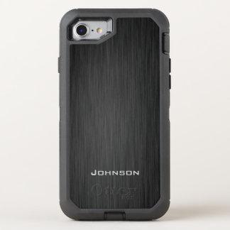 Stylish Black Wood Pattern Monogram Name OtterBox Defender iPhone 8/7 Case