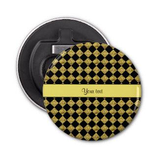 Stylish Black & Yellow Glitter Checkers Bottle Opener
