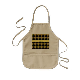 Stylish Black & Yellow Glitter Checkers Kids Apron