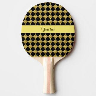 Stylish Black & Yellow Glitter Checkers Ping Pong Paddle