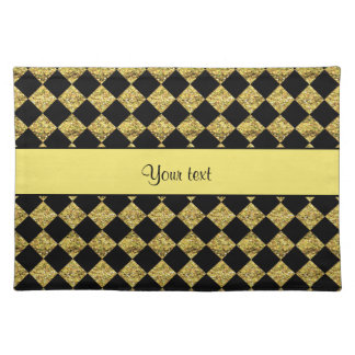 Stylish Black & Yellow Glitter Checkers Placemat