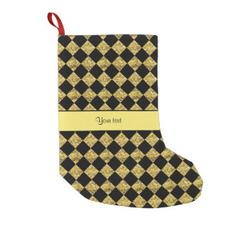 Stylish Black & Yellow Glitter Checkers Small Christmas Stocking