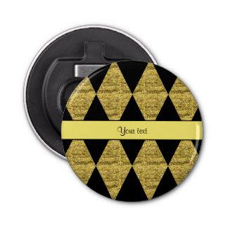 Stylish Black & Yellow Glitter Diamonds Bottle Opener