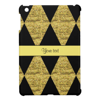 Stylish Black & Yellow Glitter Diamonds Cover For The iPad Mini