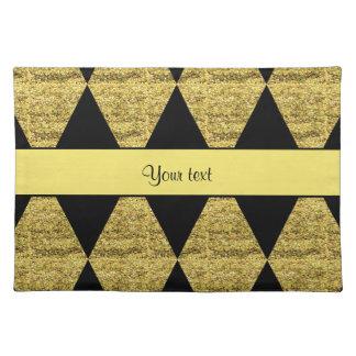 Stylish Black & Yellow Glitter Diamonds Placemats