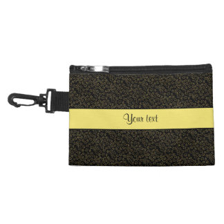 Stylish Black & Yellow Glitter Mini Stars Accessory Bag