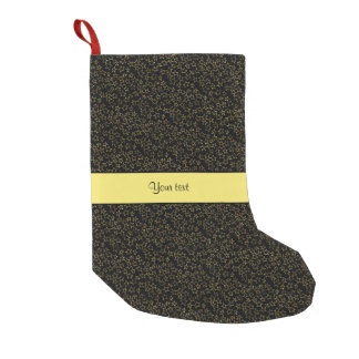 Stylish Black & Yellow Glitter Mini Stars Small Christmas Stocking