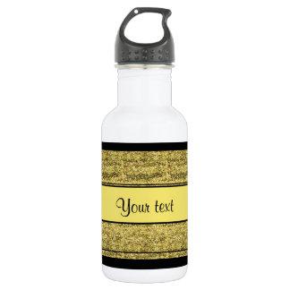 Stylish Black & Yellow Glitter Stripes 532 Ml Water Bottle