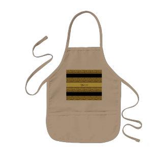 Stylish Black & Yellow Glitter Stripes Kids Apron