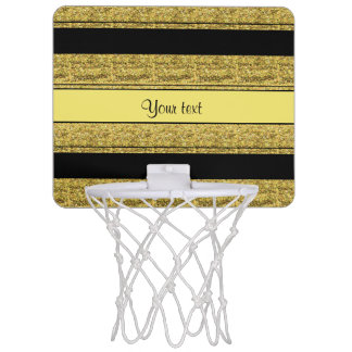 Stylish Black & Yellow Glitter Stripes Mini Basketball Hoop