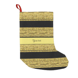 Stylish Black & Yellow Glitter Stripes Small Christmas Stocking