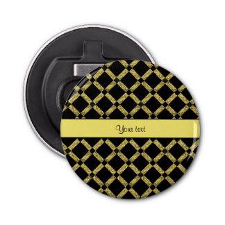 Stylish Black & Yellow Squares Bottle Opener
