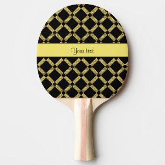 Stylish Black & Yellow Squares Ping Pong Paddle