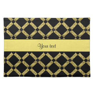 Stylish Black & Yellow Squares Placemat