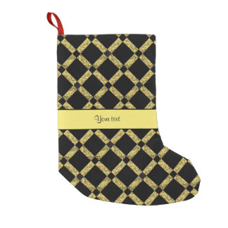Stylish Black & Yellow Squares Small Christmas Stocking