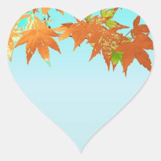 Stylish Blank Fall Gold Japanese Maple Leaf Canopy Heart Sticker