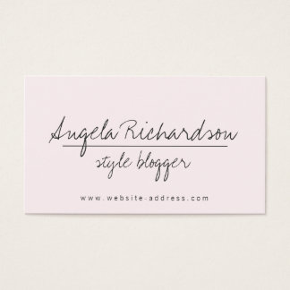 Stylish Blogger Pastel Pink Business Card