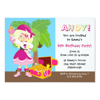 Stylish Blonde Hair Girl Pirate Kid Birthday Party 13 Cm X 18 Cm Invitation Card