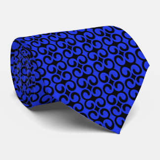 Stylish Blue and Black Pattern Tie