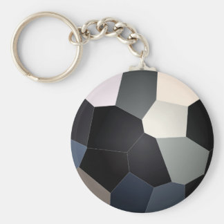 Stylish blue and black stained glass pattern basic round button key ring