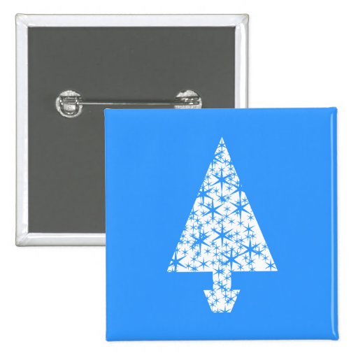 Stylish Blue and White Christmas Tree Design. Pinback Button