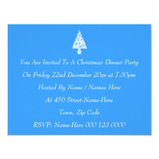 Stylish Blue and White Christmas Tree Design. 11 Cm X 14 Cm Invitation Card